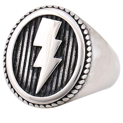 Jewelry Lightning Bolt Symbol Stainless Steel Mens Punk Rock Ring