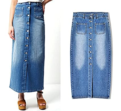 956c0372163 Womens Maxi Pencil Jean Skirt- High Waisted A-Line Long Denim Skirts for  Ladies
