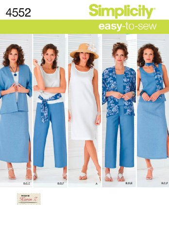 Simplicity Easy-to-Sew 4552 Plus Size Skirt, Pants, Dress, and Scarf Sewing Pattern for Women by Karen Z, Sizes BB (20W-28W)