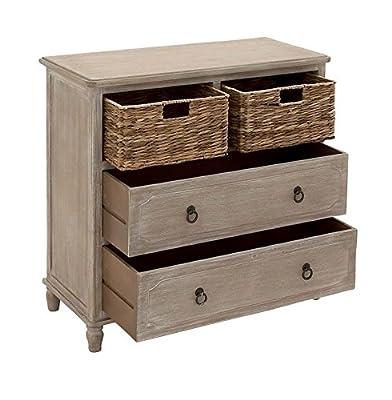"Deco 79 96338 Wood Basket Dresser, 32"" x 32"", Whitewash Taupe"