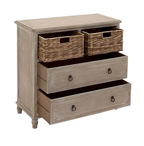 """Deco 79 96338 Square Beige Wood Cabinet with Natural Wicker Storage Basket Drawers & Whitewash Finish, 32"""" -"""