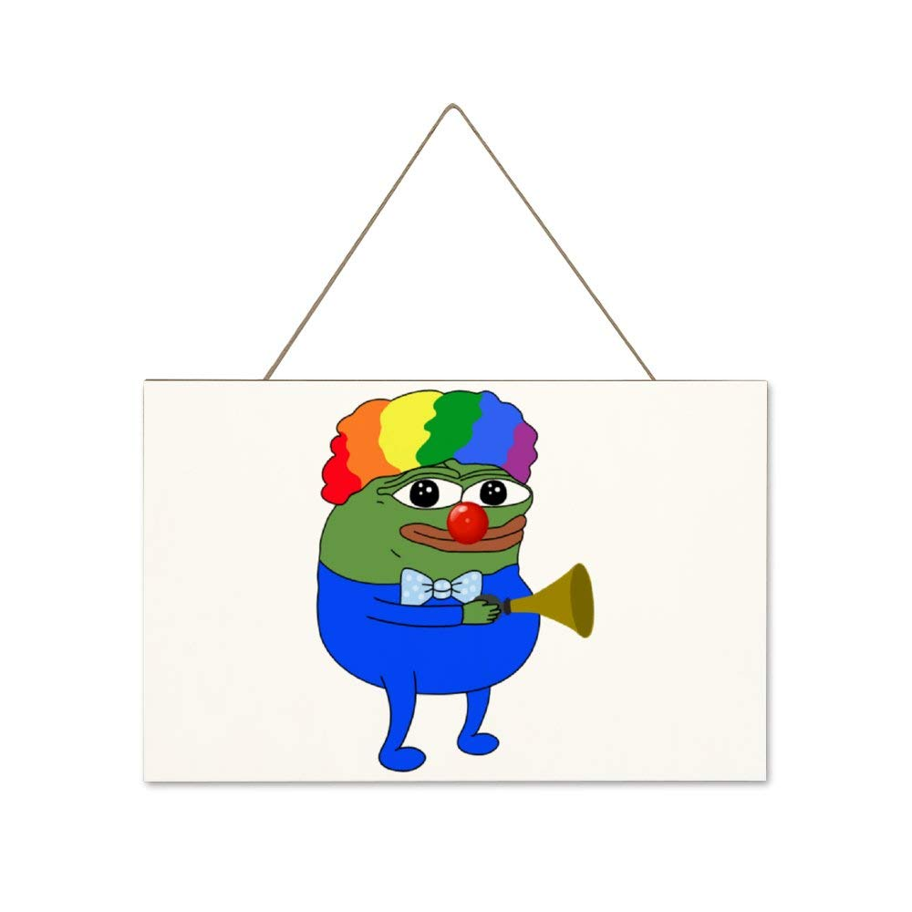 LIXIAOLAN Clown Pepe Wood Jute Rope Hanging Welcome Sign Plaque for Home Decor