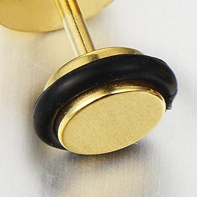 Aretes Acero Inoxidable 2 Oro Enchufe Falso Fake Plug Pendientes de Hombre con Carbono Fibra