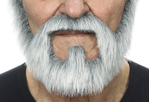 Fake Beard And Mustache (On bail gray with white fake beard, self adhesive)