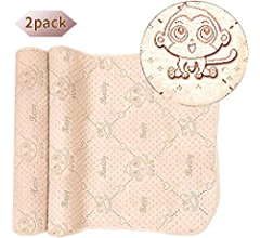 27.519.5 2 Pack, Bear OLizee 2pcs 19.5x27.5 4 Layers Colored Cotton Waterproof Changing Pad for Baby Breathable Absorbent Urine Mat Washable Mattress Pad Sheet Protector