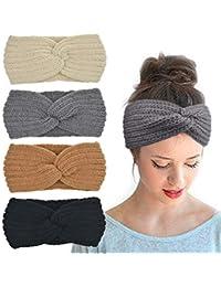 Crochet Turban Headband for Women Warm Bulky Crocheted Headwrap