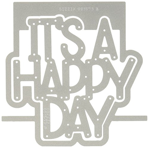 Sizzix 661573 Thinlits Die Set, Happy Day 3-D Drop-Ins Sentiment by Stephanie Barnard (4-Pack),