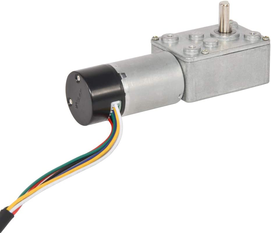 AZSSMUK Metal Worm DC Gear Motor with 48CPR Two-Channel Hall Encoder 12V 15Rpm