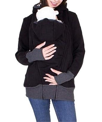 f934ab3380a54 Fenxxxl Women's Maternity Zip Up Baby Carrier Hoodie Coat Sweatshirt Jacket  F169-137 Black S