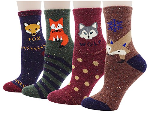 Women's Colorful Cotton Socks Animal Pattern Casual Socks 4 Pairs, Multi (Animal Pattern)