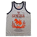 Singha Logo - Men's Tank Top Singlet Vest Gym Muay Thai Men T-shirt Cotton 100% Made in Thailand (Grey, L)