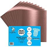 "(10) 12"" x 9.8"" Sheets of Craftables Rose Gold Heat Transfer Vinyl HTV - Easy to Weed Tshirt Iron on Vinyl for Silhouette Cameo, Cricut, all Craft Cutters. Ships Flat, Guaranteed Size"