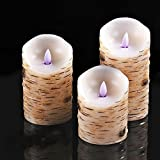 "Calm-life Flameless Candles with brich effect 4"" 5"" 6"" Set of 3 Dripless Real Wax Pillars Include Realistic Dancing LED Flames and 10-key Remote Control with 24-hour Timer Function"
