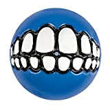 "Rogz Grinz Large 3"" Dog Ball Treat Toy, Blue"