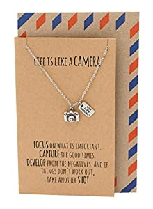 Quan Jewelry Camera Pendant Adjustable Necklace, Perfect Gift for Photographers, Quote on Greeting Card