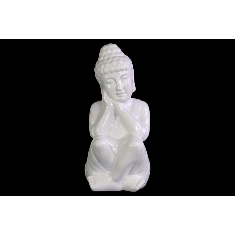 Benzara Rounded Ushnisha Head on Hands Buddha Figurine Orange One Size