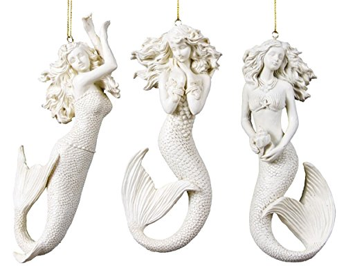 Ohio Wholesale 3 Mermaid Christmas Ornaments with Sparkle Finish White 6 X 2.25 X 1 inches