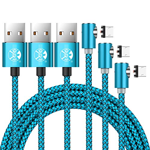 UGI Micro USB Magnetic Cable 90 Degree Round 3 Pack 3ft 6ft 10ft Nylon Braided Fast Charging USB Cable Android for Samsung Galaxy S2 S3 S4 S6, Note 2/3/4/5,LG G4 G3, Sony Xperia Z5 HTC Motorola ZTE