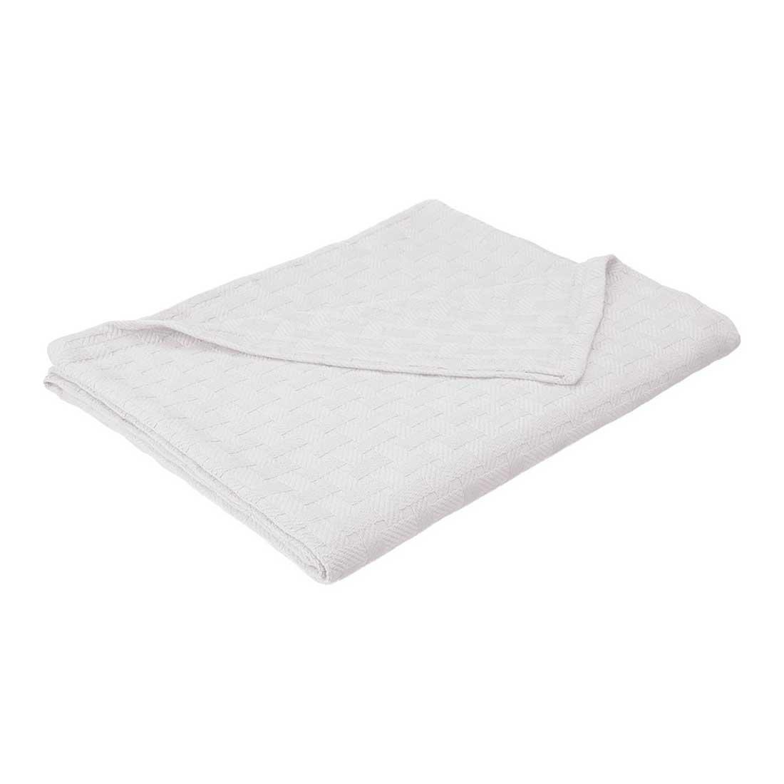eLuxurySupply Basket Weave Blanket - 100% Soft Premium Cotton Blanket - Perfect for Layering Any Bed, King, White