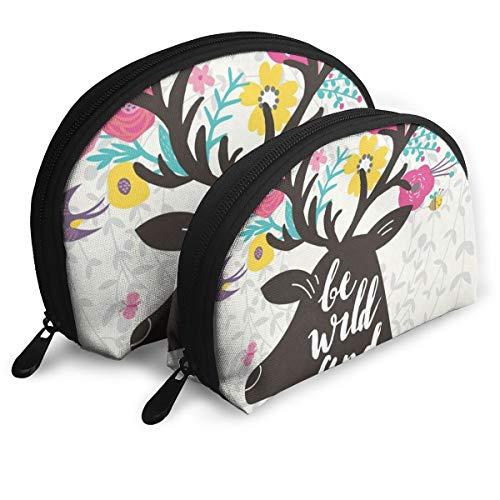 Makeup Bag Floral Deer Quotes Bee Rabbit Bee Cloud Portable Shell Makeup Case For Girlfriend Halloween Gift Pack - 2 ()