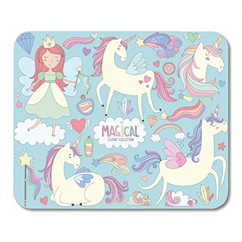 Emvency Mouse Pads Pattern Blue Cute Magical Unicorns and Fairy Princess Colorful Mouse Pad for notebooks, Desktop Computers mats 9.5