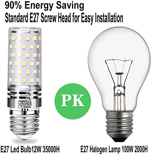 E27 Led Bulb Lamp 12W 6000K Aogled,Equivalent to 100W Halogen Lamp,Daylight White 6000K,1200LM,360 Angle Corncob,Edison Screw Bulb,Not Dimmable,No Flickering AC85-265V E27 Led Lighting,Pack of 4