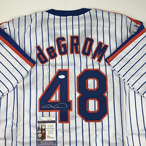 Autographed/Signed Jacob DeGrom New York NY Pinstripe Baseball Jersey JSA - Replica Pinstripe Mlb Mets Jersey