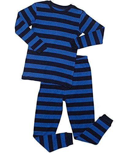 Leveret Striped Kids & Toddler Boys Pajamas 2 Piece Pjs Set 100% Cotton (14 Years, Blue & Navy)