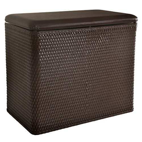 Lamont Home Carter Bench Wicker Laundry Hamper with Coordinating Padded Vinyl Lid, Chocolate (Bench Wicker Baskets Storage)