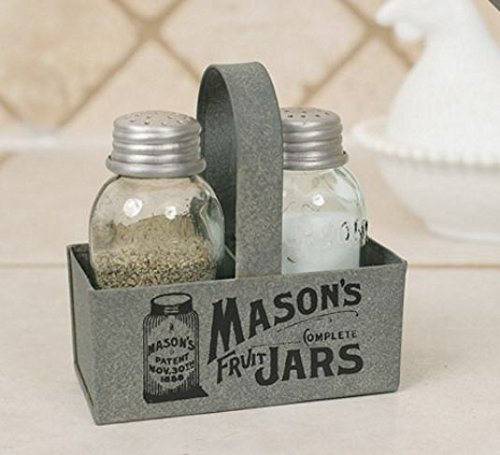 Cute Mason's Jars Box Salt and Pepper Caddy Set with Tin Handle (No Metal Back) – Get Compliments with This Perfect Little Kitchen Counter or Dining Room Table Decoration