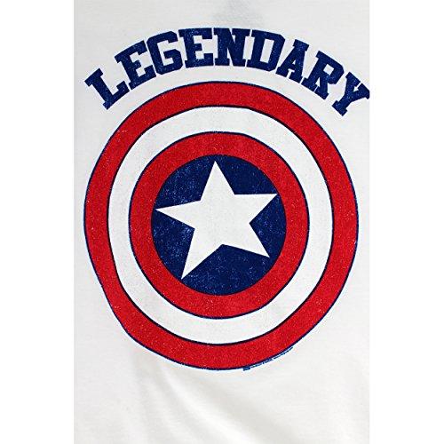 Marvel Comics Heroes Boys T-Shirt (4, White (Captain America))
