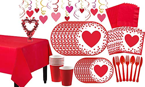 Party City Confetti Hearts Valentine's Day Tableware Kit for 16 Guests, Includes Plates, Napkins, Cups, and Decorations]()