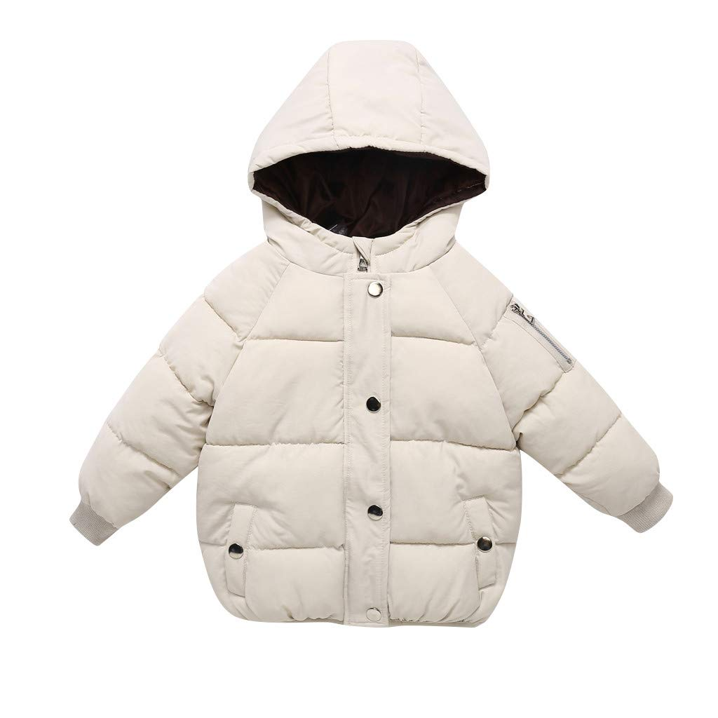 Children Girl Boy Winter Down Jacket Letter Button Warm Hooded Jackets Coats Outerwear Snowsuit Clothes,3-9 Years,SIN vimklo
