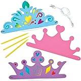 Coronas y tiaras de princesa para rascar que los niños pueden diseñar, personalizar y llevar. Manualidades scratch art perfectas para fiestas infantiles de princesas (pack de 6).