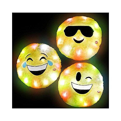 12'' Light Up Plush Emoticon Pillow by Bargain World