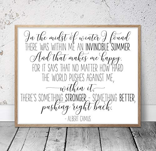 In the Midst of Winter I Found Within Me An Invincible Summer Albert Camus Inspirational Wall Art Motivational Quotes Nursery Prints Wood Pallet Design Wall Art Sign Plaque with Frame wooden sign