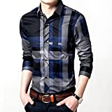 Womleys Mens Long Sleeve Slim Fit Casual Snap Buttons Plaid Dress Shirts