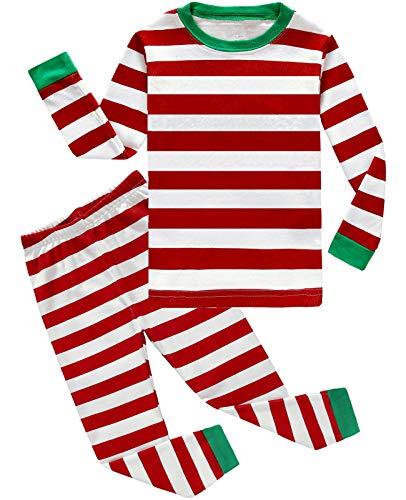 (Boys Girls Christmas Striped 2 Piece Kids Pajamas Toddler Sleepwear 100% Cotton Size)