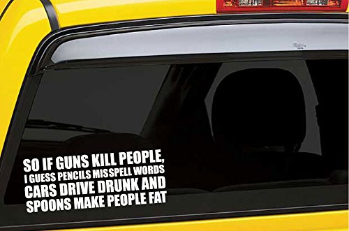 Pencils misspell words cars drive drunk and spoons make people fat funny die cut decal bumper sticker for motorcycles windows cars trucks