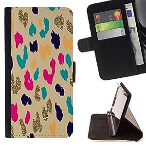 """For Sony Xperia Z5 Compact Z5 Mini (Not for Normal Z5),S-type Patrón del guepardo del leopardo del oro Animal"""" - Dibujo PU billetera de cuero Funda Case Caso de la piel de la bolsa protectora"""