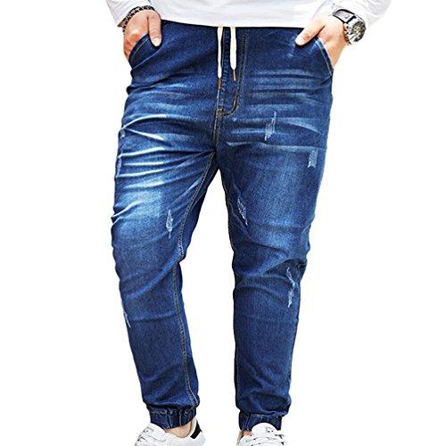 Jeans Yiiquan Ricamo Azzurro Grande Pocket Stampa Taglia Biker Uomo Pantaloni HqPnwAqgI