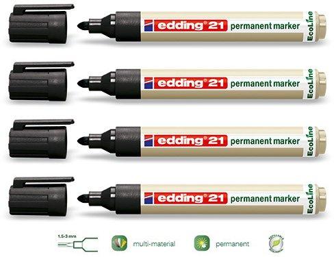 EDDING 21 Permanentmarker 1-5mm | Neuheit Eco-Line Serie | In verschiedenen Farben, Vorteilspacks und Kombinationen wählbar (4er Vorteilspack, Schwarz)