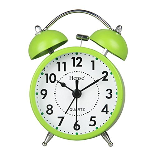 Two Bell - HENSE Classical Retro Twin Bell Mute Silent Quartz Movement Non Ticking Sweep Second Hand Bedside Desk Analog Alarm Clock with Nightlight and Loud Alarm HA01 (Green)