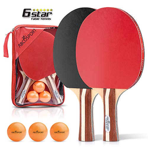 Abco Tech 6 Star Ping Pong Paddle Set of 2 Table Tennis Rackets with 3 Orange Balls – Soft Sponge Rubber & 7-Ply Paddles – Professional Quality –Durable & Travel-Friendly