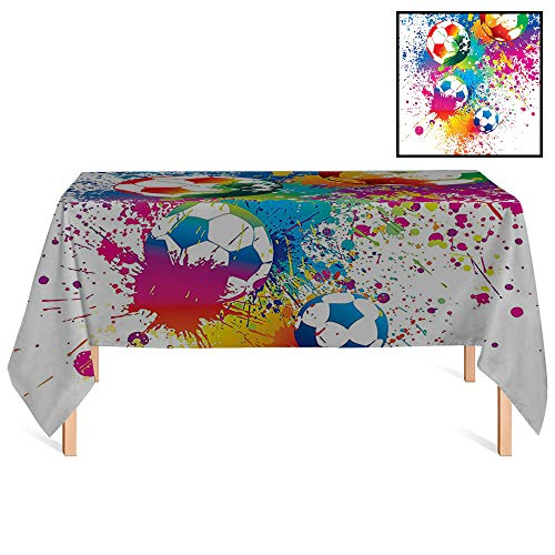 SATVSHOP Rectangle Tablecloth,/55x86 Rectangular,Sports Colored Splashes All Over The Soccer Balls Score World Cup Championship Athletic Artful for Wedding/Banquet/Restaurant.