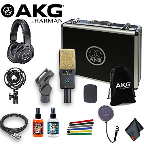 AKG C414 XLII Multi-Pattern Large-Diaphragm Condenser Microphone (9 Switchable Polar Patterns) with ATH-M40x Headphones, 10Ft XLR, Pop Filter, Cable Ties, and Cleaning - Microphone 414 Akg