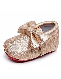 HONGTEYA Infant Shoes- PU Leather Newborn Baby Shoes Girl Boy Moccasins Fringe Bow Soft Soled Crib Shoe