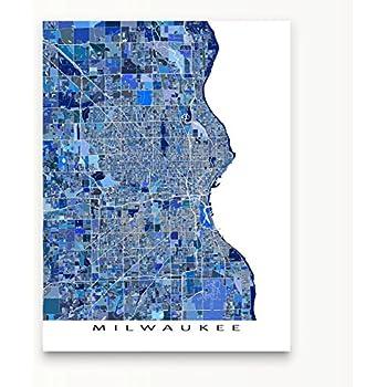 milwaukee map print wisconsin usa city map art poster blue