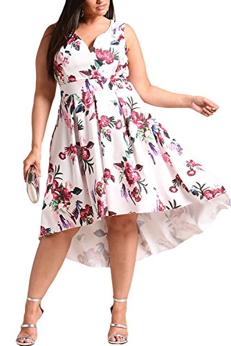 Arainlo Ladies Plus Size Summer Dress Beachwear Casual Sleeveless V Neck Floral Printed High Low A-Line Short Skater Dress White XXXX-Large (Summer Beachwear)
