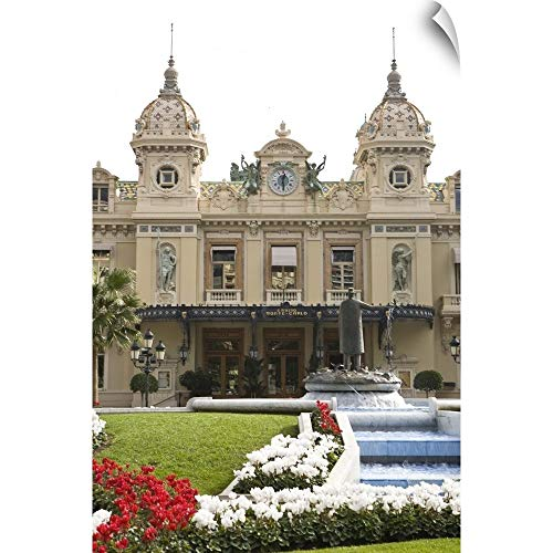 CANVAS ON DEMAND Michele Benoy Westmorland Wall Peel Wall Art Print Entitled Fountains and Gardens of World Famous Monte-Carlo Casino in Monaco (Monaco Fountain)